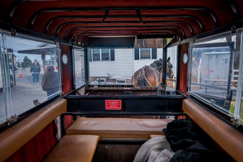 Pennsylwania, usa, KWIECIEŃ, 18, 2018: Salowy widok Amish powozik z koniem parkującym w sklepie zdjęcie royalty free