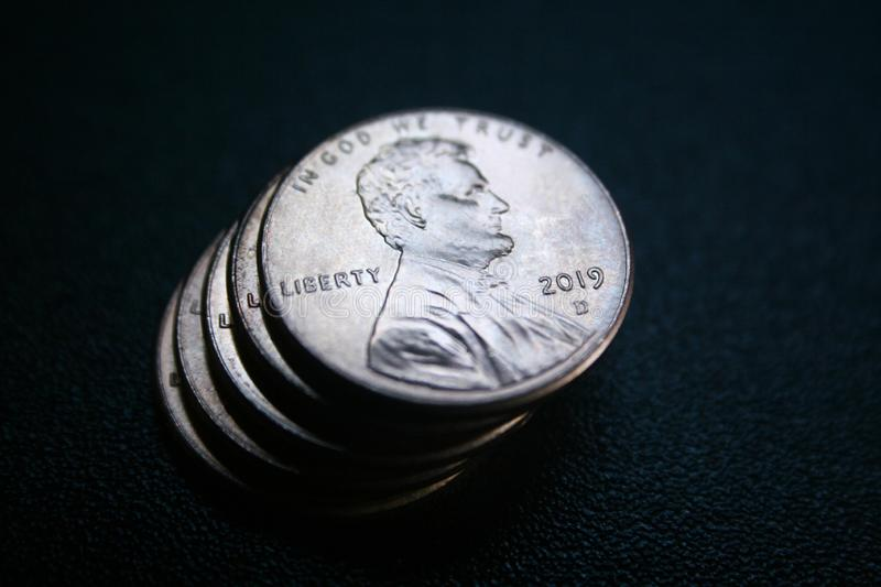 2019 Penny Close Up With Black Background High Quality stock photo