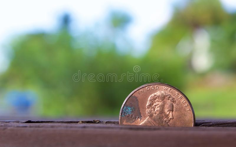 Penny coin with blur background stock photography