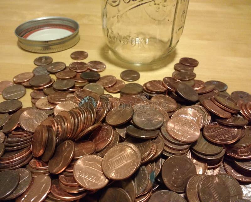 Penny de cuivre, argent américain, petite monnaie, pièces de monnaie d'un cent, collecte de pièces photo libre de droits