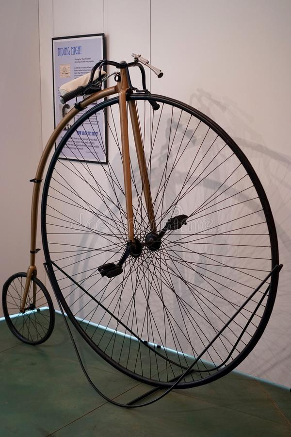 The penny-farthing bicycle. The penny-farthing or high wheel bicycle was used in the mid to late 19th century. It was at its height around 1890 stock images