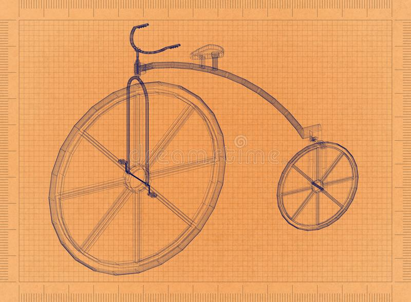 Penny-farthing Vintage Bicycle - Retro Blueprint royalty free illustration
