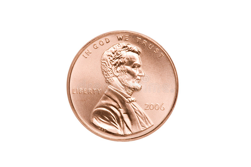 Penny isolated closeup stock photography