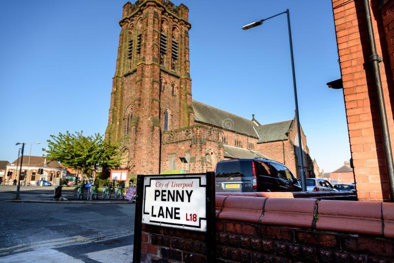 Penny Lane Road Sign stock foto