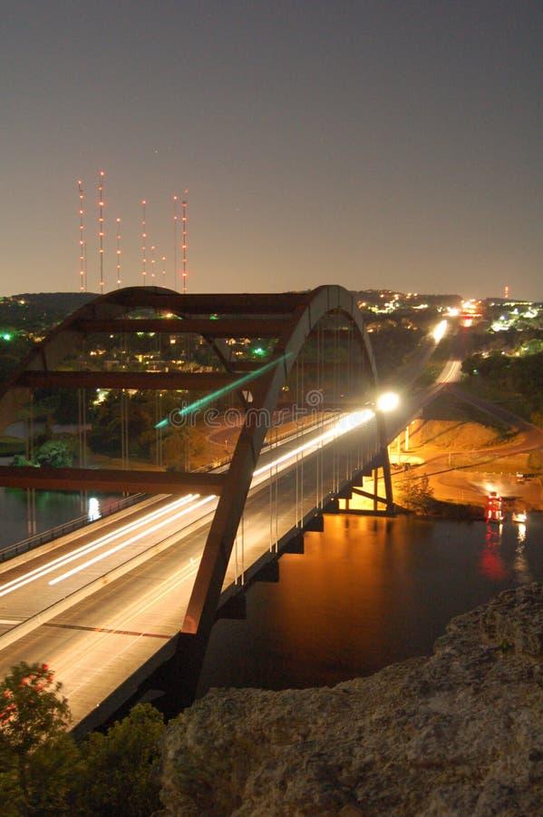 Pennybacker桥梁长的曝光 免版税库存照片