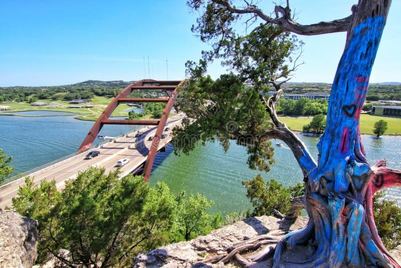 Pennybacker Bridge or 360 Bridge an Austin Texas Landmark. Pennybacker Bridge or 360 Bridge Austin Texas hill country Suspension Bridge Landmark View of the stock images