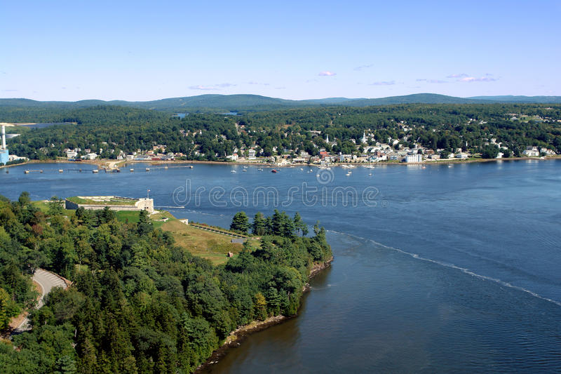 Penobscot River at Fort Knox and Bucksport Maine stock photo