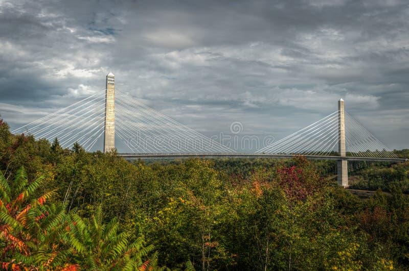 Penobscot verengt Brücke über Bäumen stockfoto