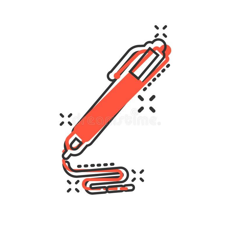 Penpictogram in grappige stijl Illustratie van het ballpoint de vectorbeeldverhaal op wit geïsoleerde achtergrond De plonseffect  royalty-vrije illustratie
