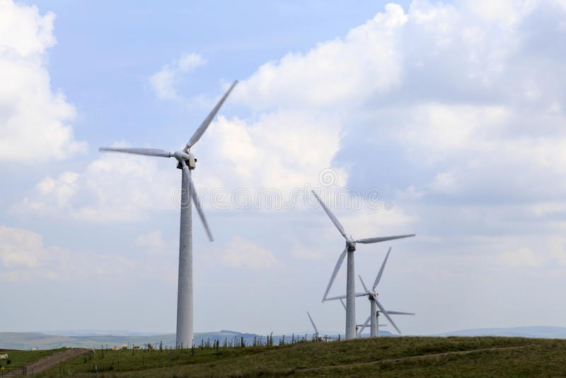 Penrhyddlan Windfarm i LLidiartywaun fotografia stock