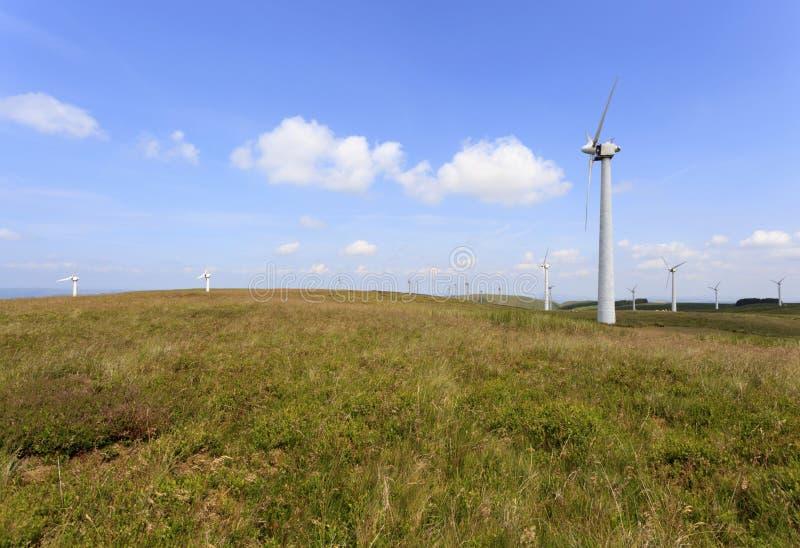 Penrhyddlan y parque eólico de LLidiartywaun fotografía de archivo libre de regalías