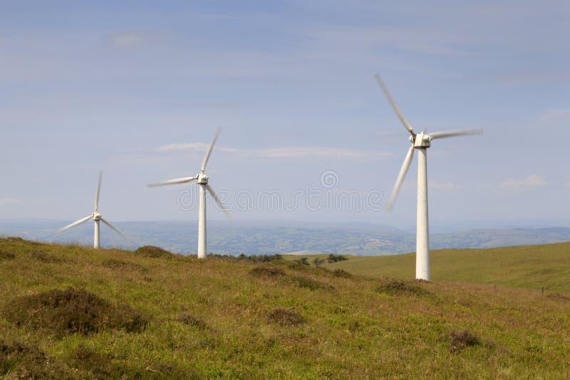 Penrhyddlan y parque eólico de LLidiartywaun imágenes de archivo libres de regalías