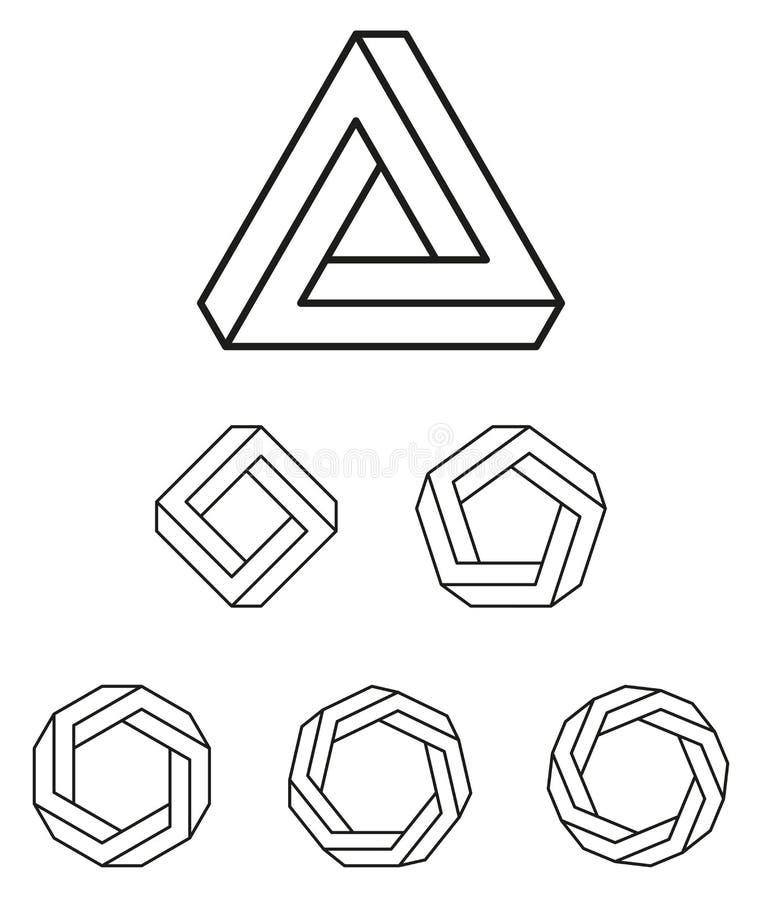 Penrose-Dreieck und Polygonentwurf lizenzfreie abbildung