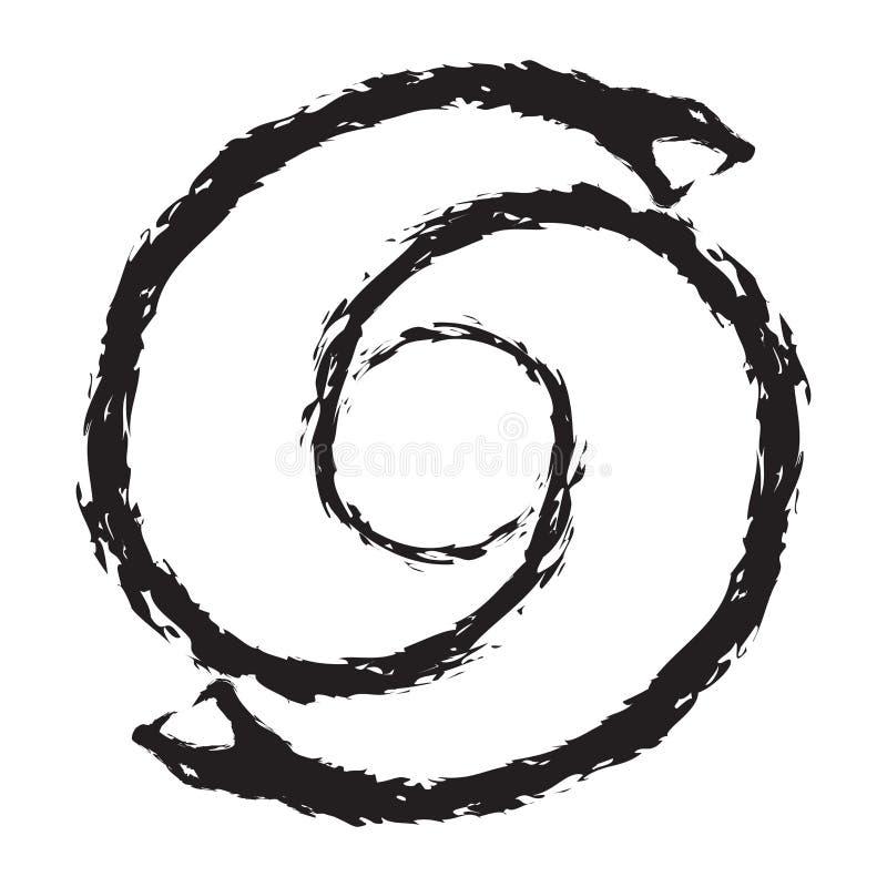 Penrose okrąg robić wąż - atrament wersja ilustracja wektor