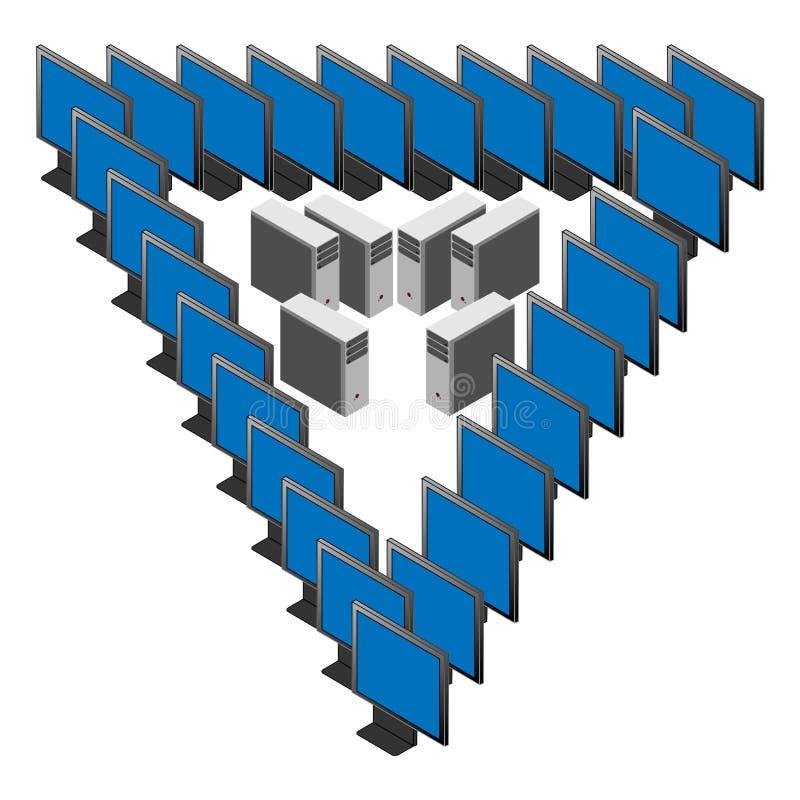 Penrose triangel - begrepp av datormaskinvara och internet royaltyfri illustrationer