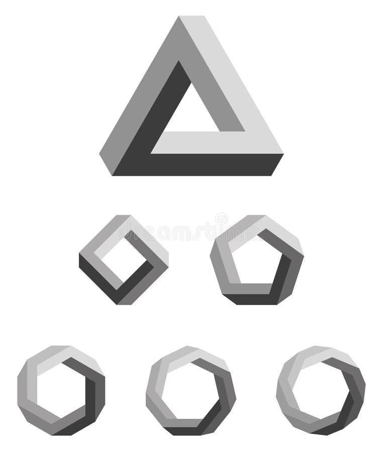 Penrose wieloboki i trójbok gradated czerń ilustracja wektor