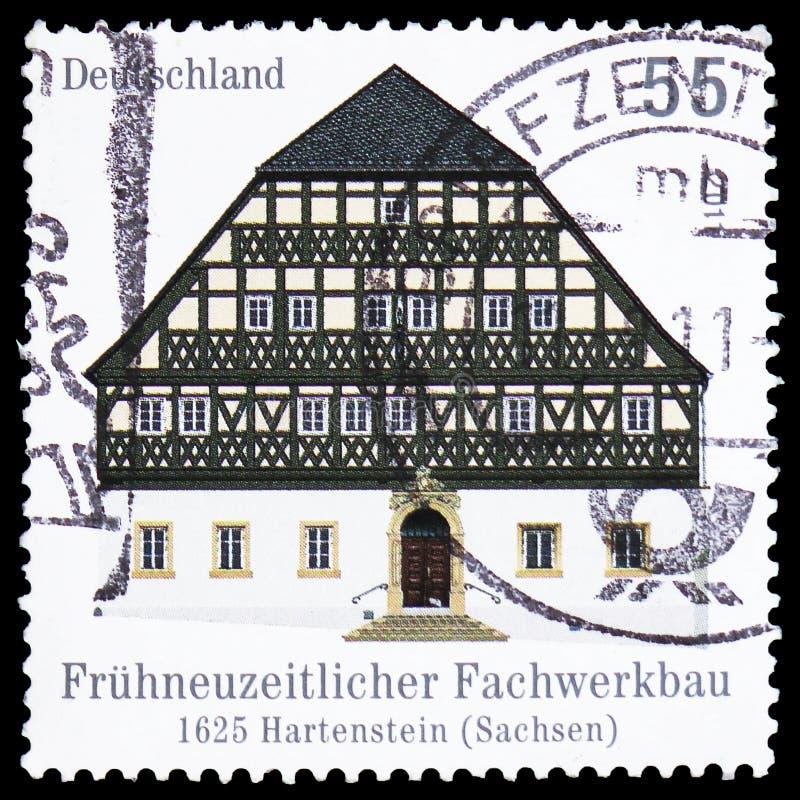 A pensão do cavalo branco, Hartenstein construiu 1625, construções Madeira-moldadas no serie de Alemanha, cerca de 2011 fotos de stock royalty free