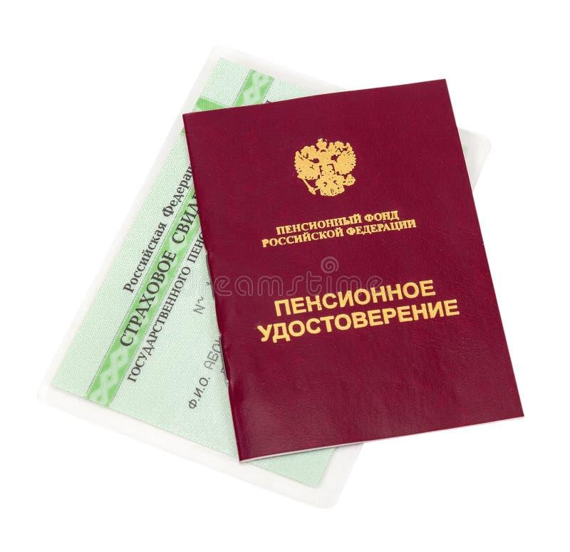 Pensão do russo e certificado de seguro fotos de stock royalty free