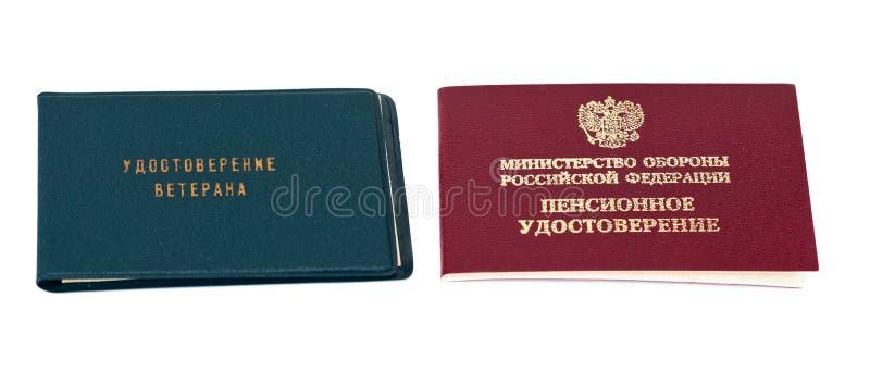 Pensão do russo e certificado do veterano fotografia de stock