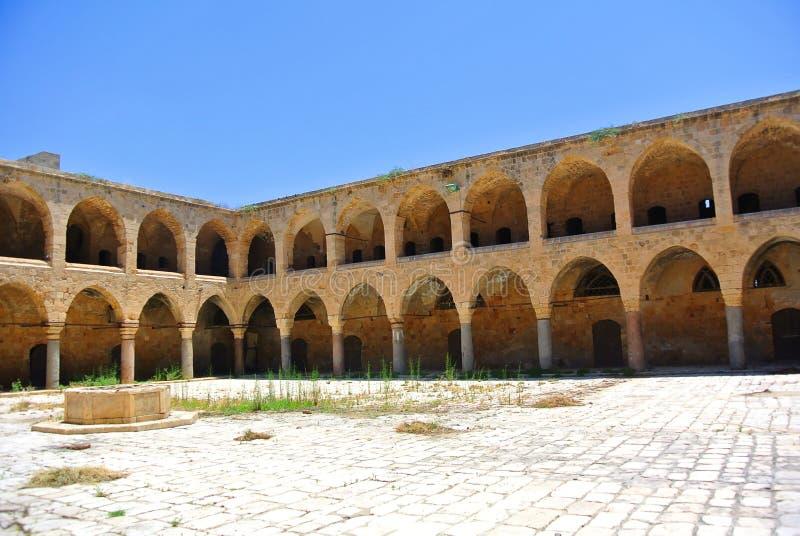 A pensão Khan Al-Umdan Construído durante o reino do império otomano Akko israel fotografia de stock royalty free