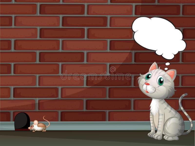 Pensée d'un chat et une souris illustration de vecteur