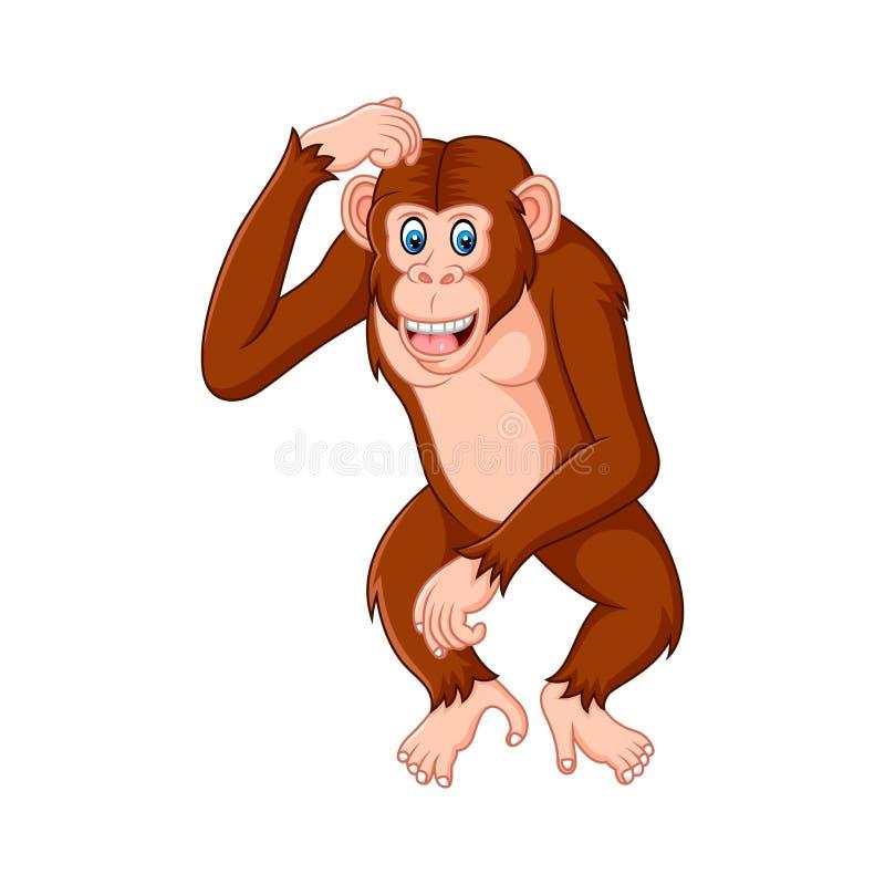 Pensée de bande dessinée de chimpanzé illustration stock