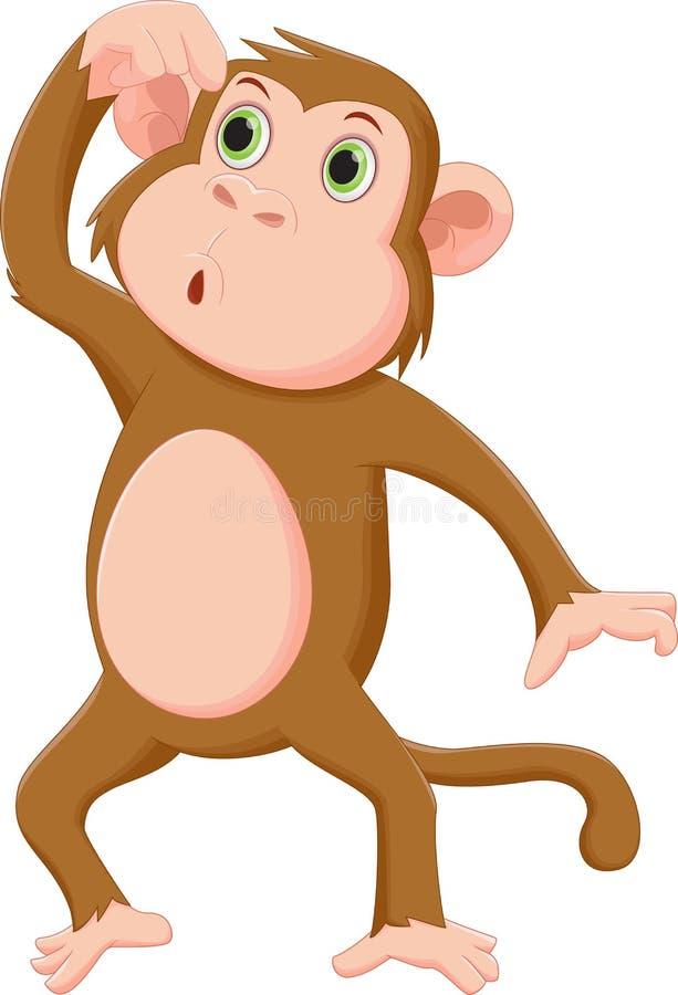 Pensée de bande dessinée de singe illustration libre de droits