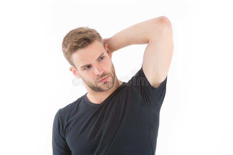 Pensée de contact d'homme d'isolement sur le blanc Type avec la barbe sur le visage sérieux Quelque chose sur son esprit Occasion photo stock