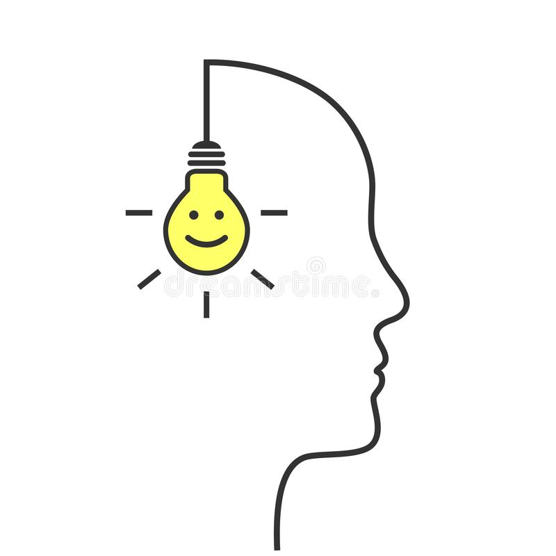 Pensée de positif et concept heureux d'attitude illustration stock