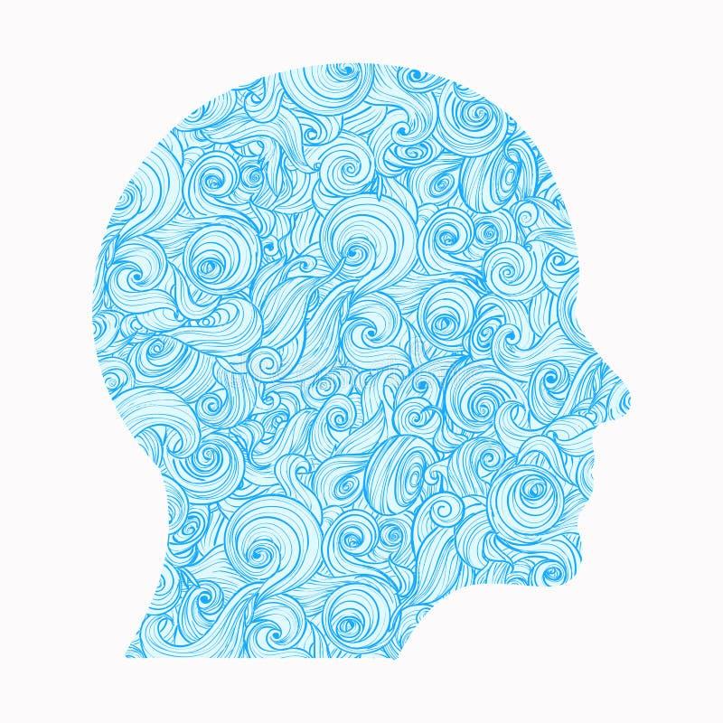 Pensée La découpe de la tête humaine, à l'intérieur de dont il y a un modèle des vagues de verrouillage, symbolisation illustration de vecteur