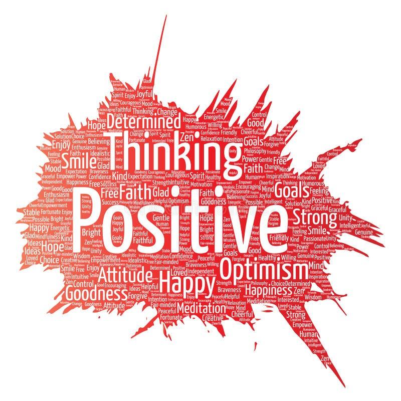 Pensée positive de vecteur, attitude forte heureuse illustration libre de droits