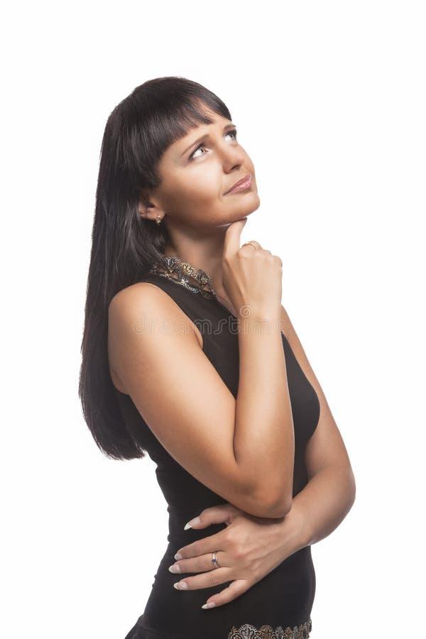 Pensée sensuelle de femme de brune image libre de droits