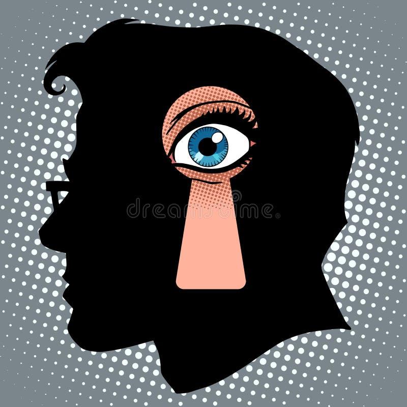 Pensées secrètes de l'espionnage illustration de vecteur