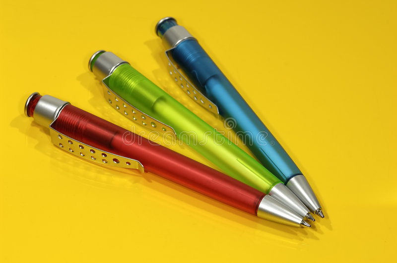 Pens. Photo of Several Ballpoint Pens stock image