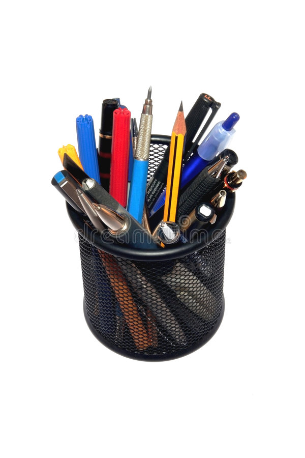 Free Pens And Pencils In Black Holder Royalty Free Stock Photo - 2706575