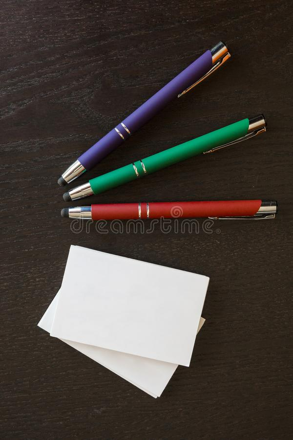 Pens and business cards stock image. Image of necessary - 114797213