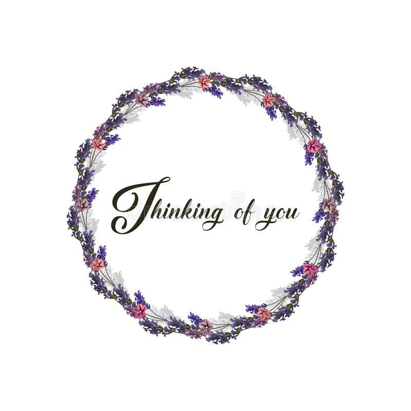 Pens?e ? vous - carte Illustration de vecteur Cadre floral fait à partir des fleurs de lavande Couleurs pourpres illustration stock
