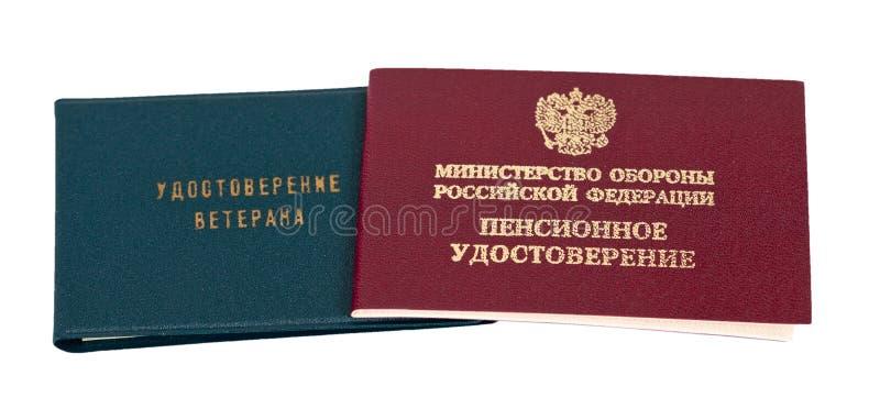 Pens?o do russo e certificado do veterano imagem de stock