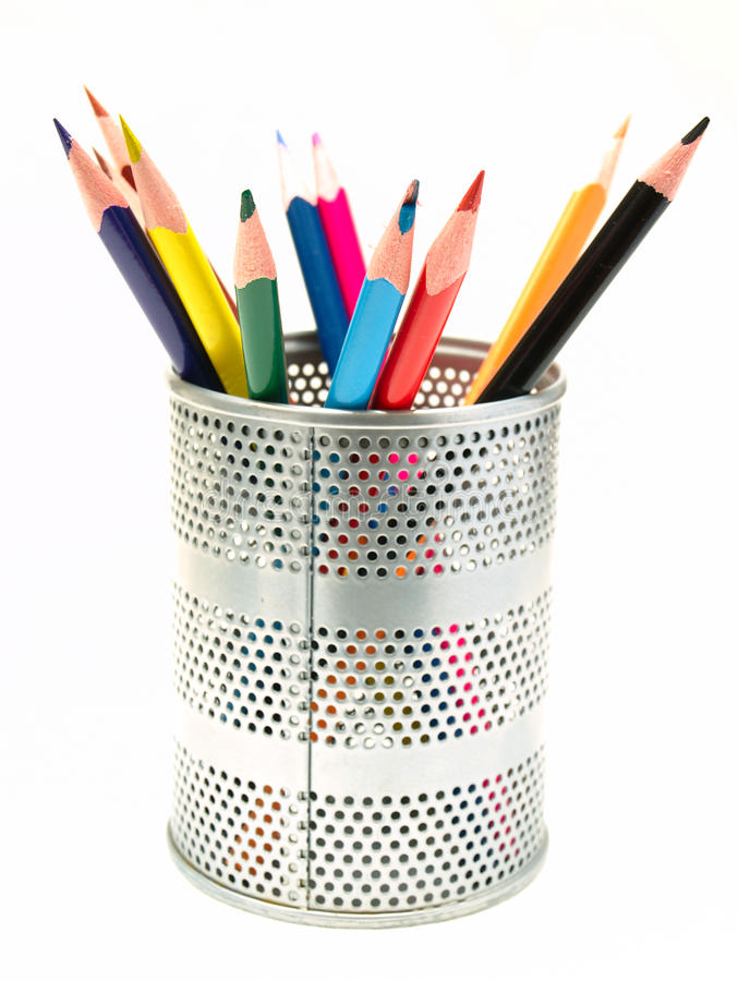 Pens in the pen holder royalty free stock image