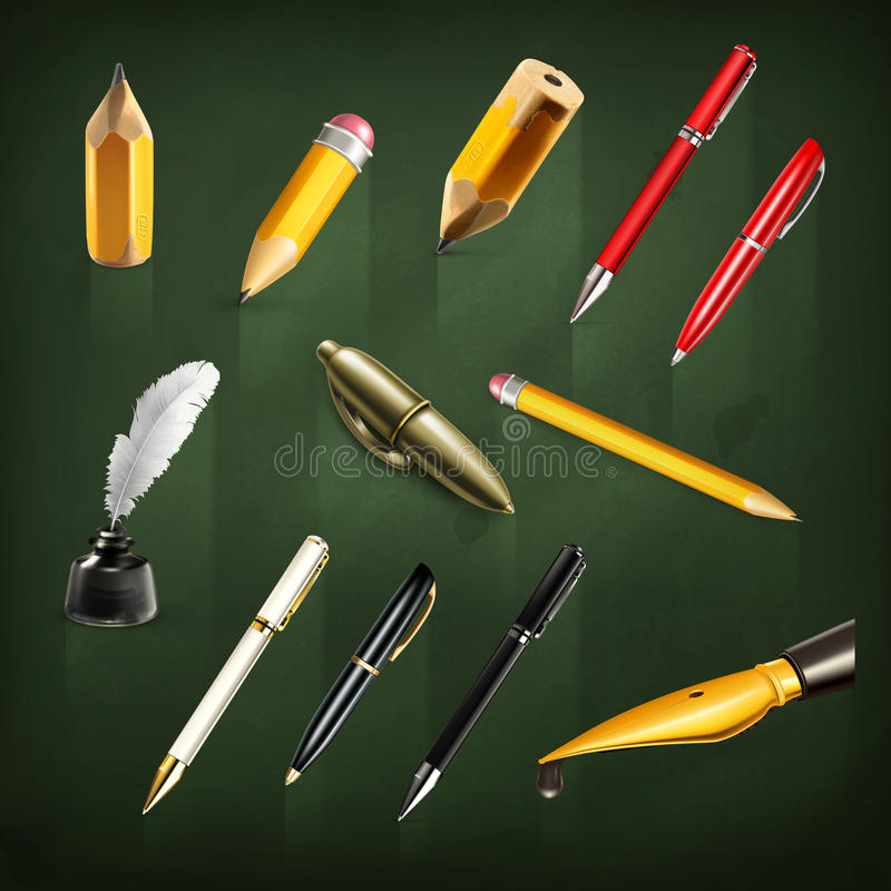 Pens and pencils icons. Set with pens and pencils, vector icons royalty free illustration