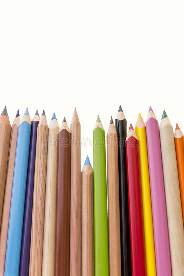 Pens. A set of different colored pens in a row stock images