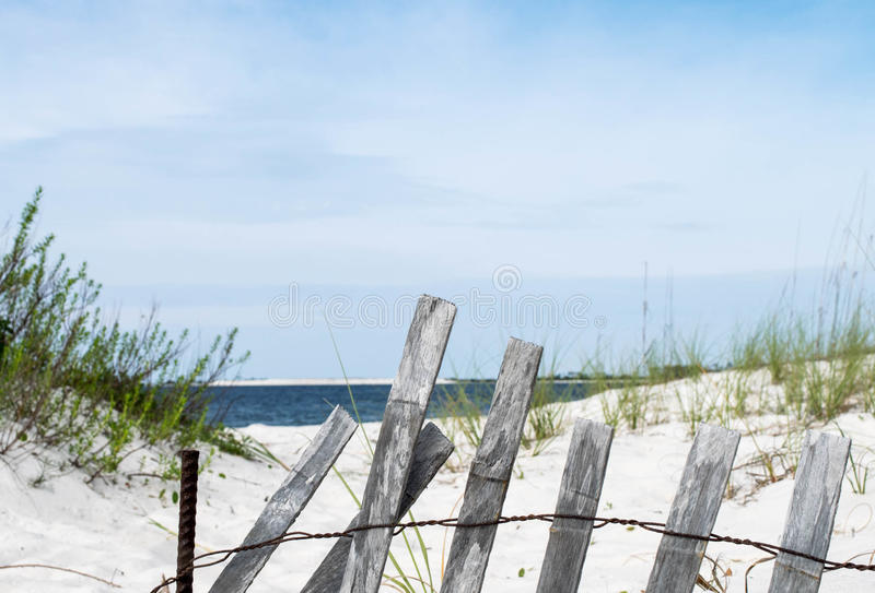 Pensacola Beach, Florida, USA. Pensacola white sand beach in Florida (USA). Sand dunes and foliage along beach with local saltgrass foliage and wooden fence stock photography
