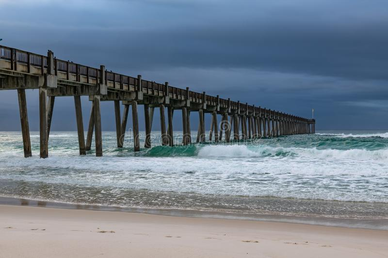 Pensacola Beach pier after a rain storm passed through royalty free stock photography