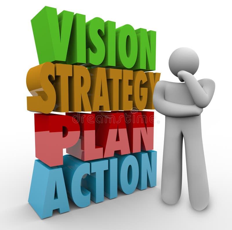 Pensador da ação do plano da estratégia da visão ao lado das palavras 3D ilustração royalty free