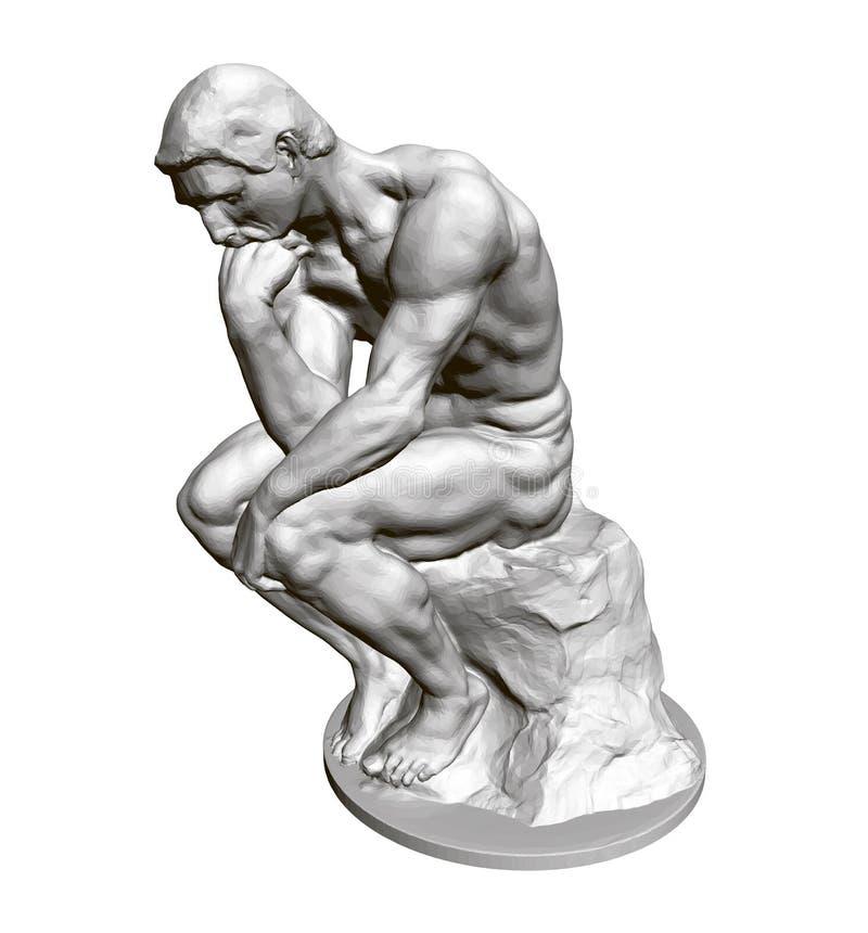 Pensador de la escultura 3d Estatua de un hombre asentado que se inclina la mano a su cara Ilustración del vector libre illustration
