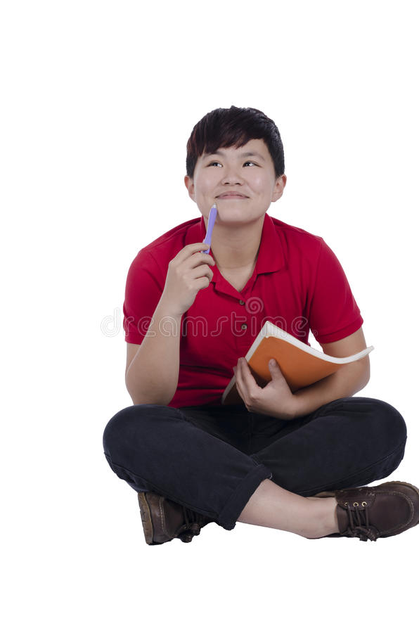 Pensamento asiático atrativo do estudante imagens de stock