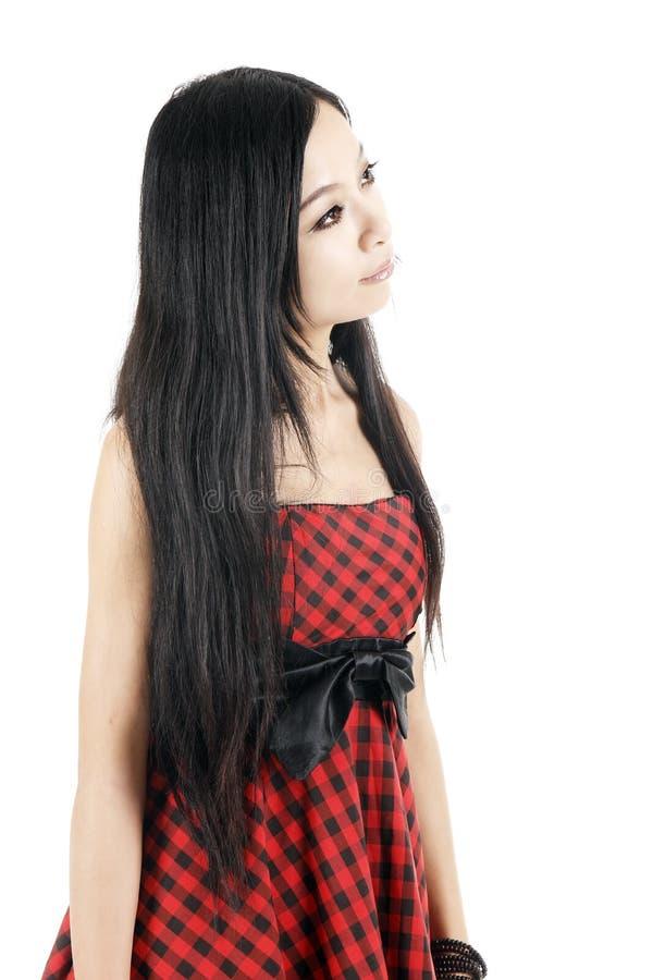 Pensamento asiático da menina foto de stock royalty free