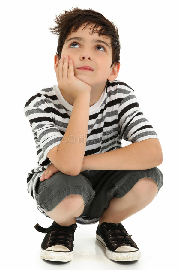 Pensamento atrativo da criança do menino fotos de stock royalty free