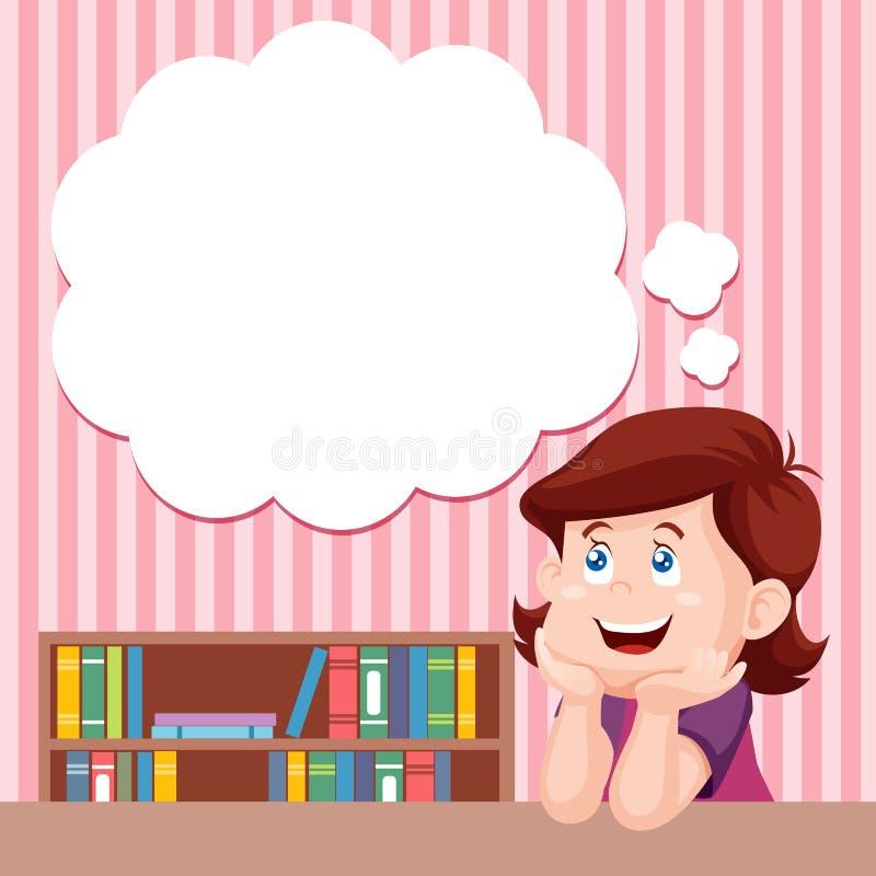 Pensamento da menina dos desenhos animados ilustração do vetor