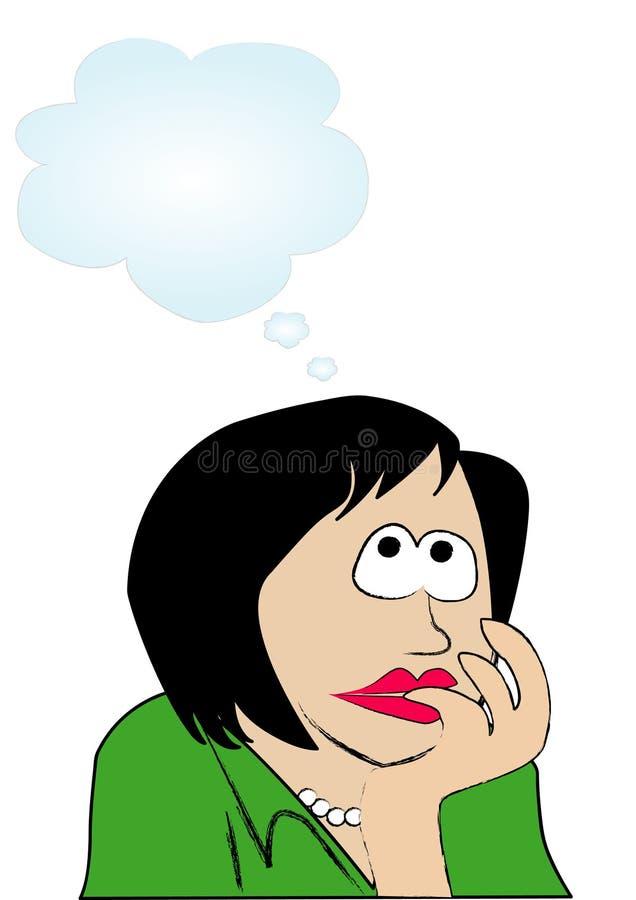 Pensamento da mulher ilustração do vetor